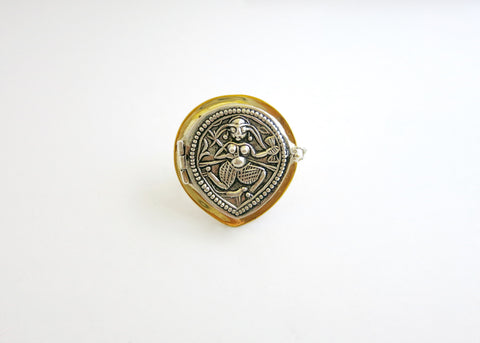 Artistic, neo-tribal, bi-metal, drop shape goddess amuletic ring with ancient die-stamp embossing (PB-MM1076-R)