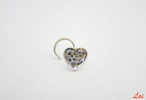 Fun hammer finish heart nose pin (PB-010-NP)  Nose pin Sterling silver handcrafted jewellery. 925 pure silver jewellery. Earrings, nose pins, rings, necklaces, cufflinks, pendants, jhumkas, gold plated, bidri, gemstone jewellery. Handmade in India, fair trade, artisan jewellery.