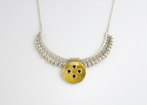 Gorgeous, vintage inspired, bi-metal locket necklace in gold plated brass and sterling silver (PB-MM1002-N)