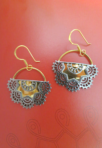 Exquisite half round gold plated earrings with mehndi inspired black rhodium plated detailing (PBS-4738-ER)  Earrings Sterling silver handcrafted jewellery. 925 pure silver jewellery. Earrings, nose pins, rings, necklaces, cufflinks, pendants, jhumkas, gold plated, bidri, gemstone jewellery. Handmade in India, fair trade, artisan jewellery.