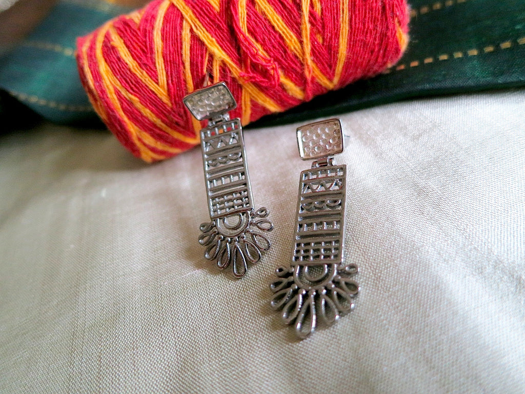 Chic mehndi inspired long rectangular black rhodium plated earrings (PBS-4743-ER)  Earrings Sterling silver handcrafted jewellery. 925 pure silver jewellery. Earrings, nose pins, rings, necklaces, cufflinks, pendants, jhumkas, gold plated, bidri, gemstone jewellery. Handmade in India, fair trade, artisan jewellery.