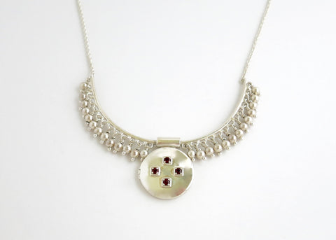 Vintage inspired, gorgeous, locket necklace in sterling silver and garnet