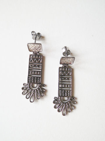 Chic, mehndi inspired, long rectangular black rhodium plated earrings  Earrings Sterling silver handcrafted jewellery. 925 pure silver jewellery. Earrings, nose pins, rings, necklaces, cufflinks, pendants, jhumkas, gold plated, bidri, gemstone jewellery. Handmade in India, fair trade, artisan jewellery.