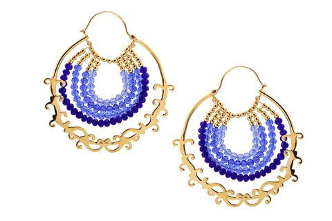 Glamorous blue ombre' arabesque detailing hoops (PB-9856-ER)  Earrings Sterling silver handcrafted jewellery. 925 pure silver jewellery. Earrings, nose pins, rings, necklaces, cufflinks, pendants, jhumkas, gold plated, bidri, gemstone jewellery. Handmade in India, fair trade, artisan jewellery.