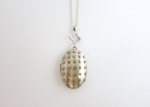 Victorian-era inspired, beautiful locket pendant in sterling silver with fine granulation work (PB-9387-P)