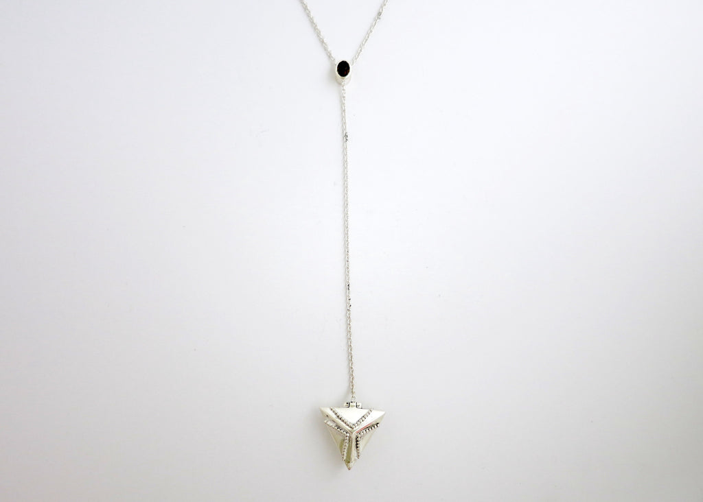 Elegant, vintage inspired, long sterling silver lariat necklace with a triangular rava-work locket and facetted smoky quartz (PB-1975-N)  Necklace, Pendant Sterling silver handcrafted jewellery. 925 pure silver jewellery. Earrings, nose pins, rings, necklaces, cufflinks, pendants, jhumkas, gold plated, bidri, gemstone jewellery. Handmade in India, fair trade, artisan jewellery.