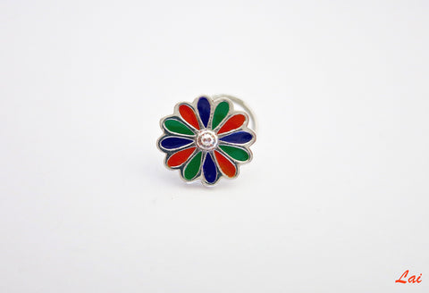 Colorful and artistic, floral enamel nose pin