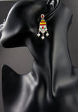 Gorgeous Mughal inspired 3 pearl drop enamel earrings (PB-1510-ER) -  - 4