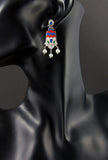 Gorgeous Mughal inspired 3 pearl drop enamel earrings (PB-1510-ER) -  - 2