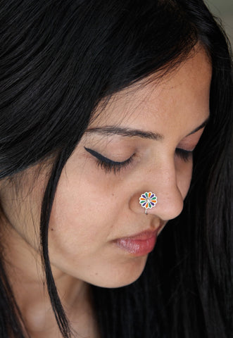 Colorful and artistic, floral enamel nose pin  Nose pin Sterling silver handcrafted jewellery. 925 pure silver jewellery. Earrings, nose pins, rings, necklaces, cufflinks, pendants, jhumkas, gold plated, bidri, gemstone jewellery. Handmade in India, fair trade, artisan jewellery.