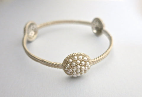 Stunning 3 pearl encrusted domes bangle (PB-1184-B)  Bangles Sterling silver handcrafted jewellery. 925 pure silver jewellery. Earrings, nose pins, rings, necklaces, cufflinks, pendants, jhumkas, gold plated, bidri, gemstone jewellery. Handmade in India, fair trade, artisan jewellery.