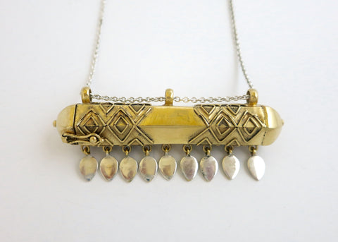 Dramatic, uber chic, tubular gold plated brass amuletic necklace on a long sterling silver chain (PB-MM1004-N)