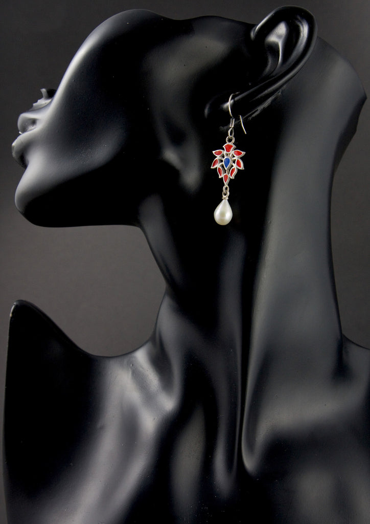 Elegant Mughal motif enamel pearl drop earrings (PB-1515-ER)  Earrings Lai designer sterling silver 925 jewelry that is global culture inspired artisanal handcrafted handmade contemporary sustainable conscious fair trade online brand shop