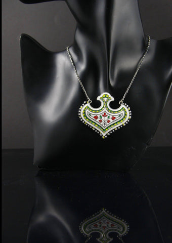 Stunning Mughal motif enamel necklace with seed pearls outline (PB-1520-N)  Necklace, Pendant Sterling silver handcrafted jewellery. 925 pure silver jewellery. Earrings, nose pins, rings, necklaces, cufflinks, pendants, jhumkas, gold plated, bidri, gemstone jewellery. Handmade in India, fair trade, artisan jewellery.