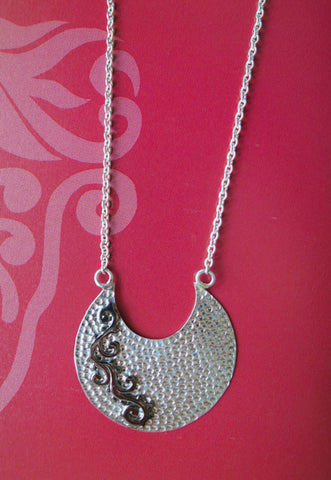 Delicate hammer finish crescent pendant on chain with mehndi inspired black rhodium plated detailing (PBS-4533-N)