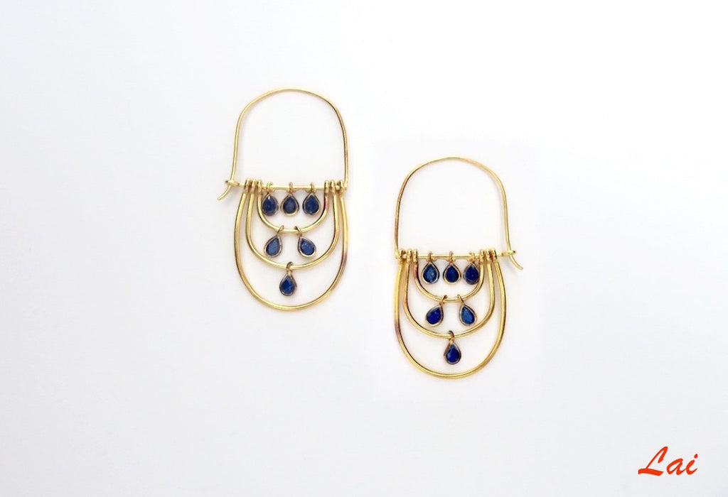 Chic, gold plated elongated hoops with faceted lapis drops [PB-2917-ER (G)]  Earrings Sterling silver handcrafted jewellery. 925 pure silver jewellery. Earrings, nose pins, rings, necklaces, cufflinks, pendants, jhumkas, gold plated, bidri, gemstone jewellery. Handmade in India, fair trade, artisan jewellery.