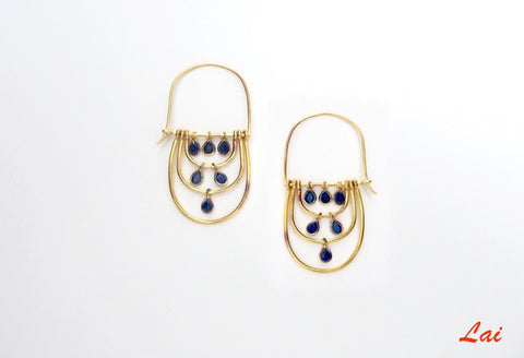 Chic, gold plated elongated hoops with faceted lapis drops [PB-2917-ER (G)]