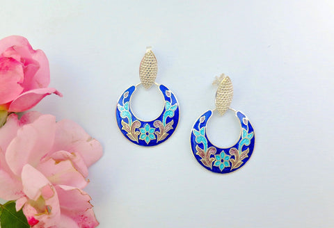 Stunning, floral pattern, crescent earrings in blue and pink Nathdwara enamel