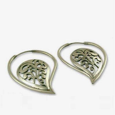 Dramatic paisley motif profile hoops (PB-1435-ER)  Earrings Sterling silver handcrafted jewellery. 925 pure silver jewellery. Earrings, nose pins, rings, necklaces, cufflinks, pendants, jhumkas, gold plated, bidri, gemstone jewellery. Handmade in India, fair trade, artisan jewellery.