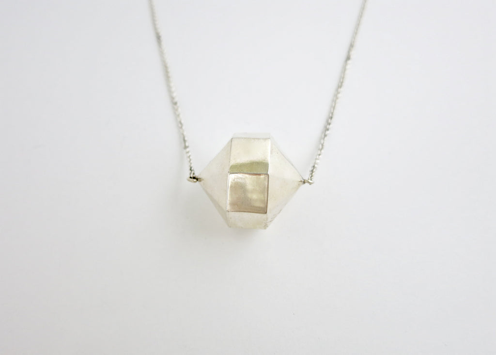 Exquisite, minimalist, 24-sided polygon locket necklace in sterling silver (PB-9349-N)