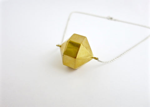 Super chic, minimalist, 24-sided polygon locket in gold plated brass with sterling silver chain (PB-MM1054-N)  Necklace, Pendant Sterling silver handcrafted jewellery. 925 pure silver jewellery. Earrings, nose pins, rings, necklaces, cufflinks, pendants, jhumkas, gold plated, bidri, gemstone jewellery. Handmade in India, fair trade, artisan jewellery.
