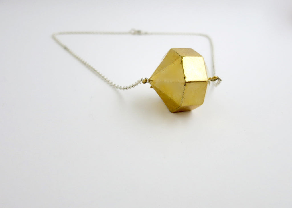 Super chic, minimalist, 24-sided polygon locket in gold plated brass with sterling silver chain (PB-MM1054-N)