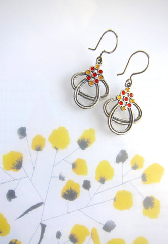 Work-to-play, dots and ovals, enamel earrings  Earrings Sterling silver handcrafted jewellery. 925 pure silver jewellery. Earrings, nose pins, rings, necklaces, cufflinks, pendants, jhumkas, gold plated, bidri, gemstone jewellery. Handmade in India, fair trade, artisan jewellery.