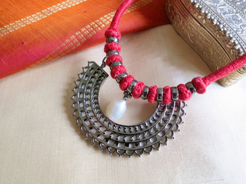 Artistic, mehndi inspired, half-round, pearl drop, pendant necklace on a cotton/silk cord