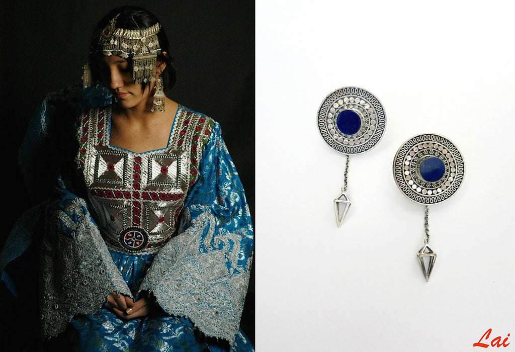 Stunning detachable lapis earrings that can be worn 4 ways (PB-2910-ER) - Lai - 1