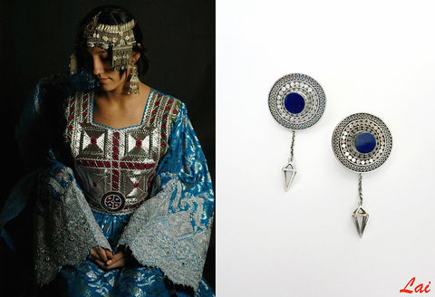 Stunning detachable lapis earrings that can be worn 4 ways (PB-2910-ER)