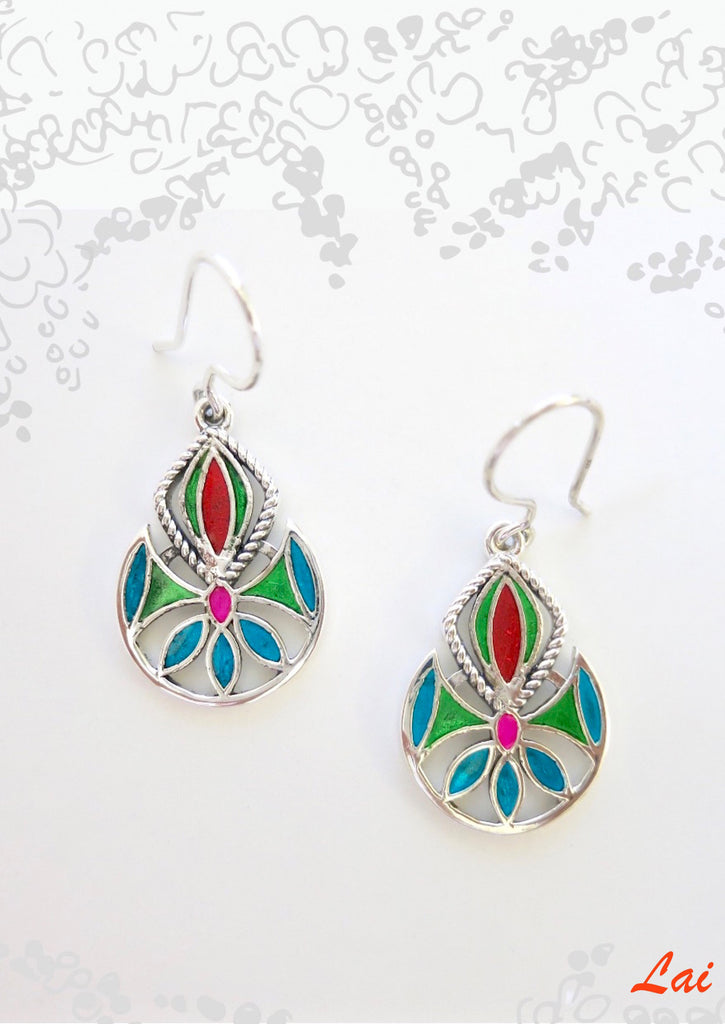 Artistic whimsical multi colour enamel earrings (PB-4164-ER)  Earrings Sterling silver handcrafted jewellery. 925 pure silver jewellery. Earrings, nose pins, rings, necklaces, cufflinks, pendants, jhumkas, gold plated, bidri, gemstone jewellery. Handmade in India, fair trade, artisan jewellery.