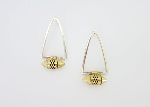 Minimalist, bi-metal earrings with sterling silver body and gold-plated brass amuletic unit
