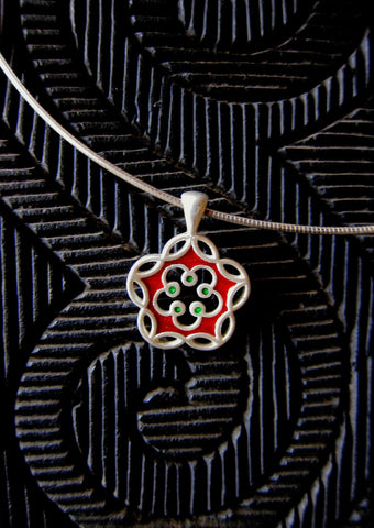 Dainty, floral charm enamel pendant (available in 2 colorways)