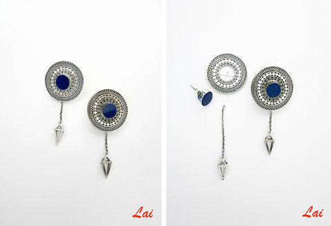 Stunning detachable lapis earrings that can be worn 4 ways (PB-2910-ER) - Lai - 2