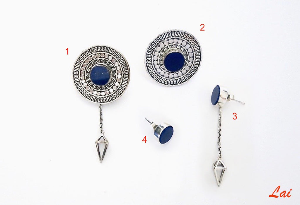 Stunning detachable lapis earrings that can be worn 4 ways (PB-2910-ER)  Earrings Sterling silver handcrafted jewellery. 925 pure silver jewellery. Earrings, nose pins, rings, necklaces, cufflinks, pendants, jhumkas, gold plated, bidri, gemstone jewellery. Handmade in India, fair trade, artisan jewellery.