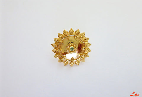 Gold plated festive granulation work nose pin (PB-020-NP)
