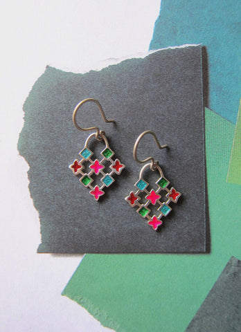 Dainty and super fun, colorful grid pattern enamel earrings