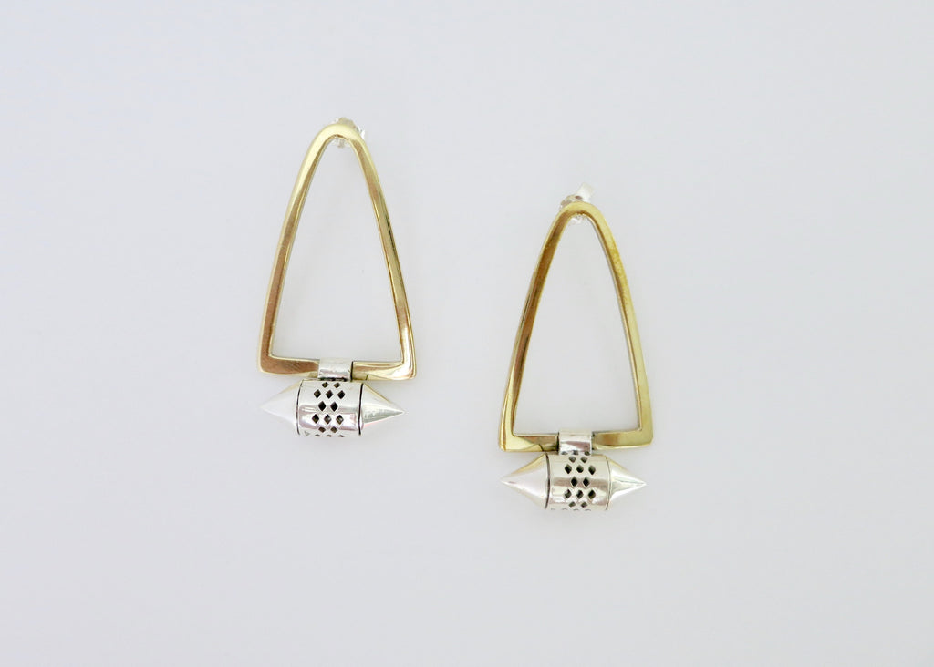 Tribal-chic, minimalist, bi-metal earrings with gold plated brass body and sterling silver amuletic units (PB-MM1048-ER)  Earrings Sterling silver handcrafted jewellery. 925 pure silver jewellery. Earrings, nose pins, rings, necklaces, cufflinks, pendants, jhumkas, gold plated, bidri, gemstone jewellery. Handmade in India, fair trade, artisan jewellery.