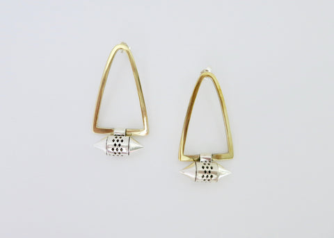 Tribal-chic, minimalist, bi-metal earrings with gold plated brass body and sterling silver amuletic units (PB-MM1048-ER)