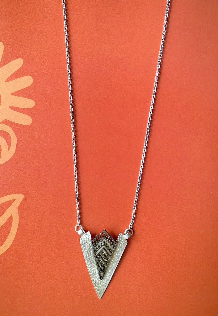 Artistic arrowhead shape long chain necklace with black rhodium plated mehndi inspired detailing (PBS-4544-N)  Necklace, Pendant Lai designer sterling silver 925 jewelry that is global culture inspired artisanal handcrafted handmade contemporary sustainable conscious fair trade online brand shop