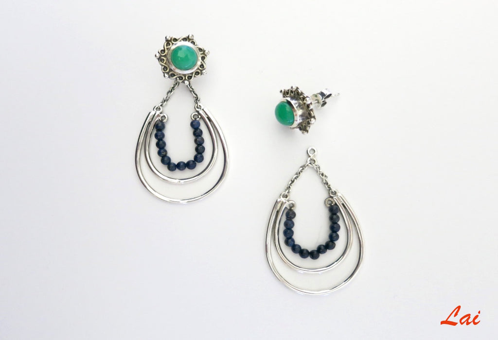 Stunning green blue detachable earrings that can be worn 2 ways (PB-2918-ER)  Earrings Sterling silver handcrafted jewellery. 925 pure silver jewellery. Earrings, nose pins, rings, necklaces, cufflinks, pendants, jhumkas, gold plated, bidri, gemstone jewellery. Handmade in India, fair trade, artisan jewellery.