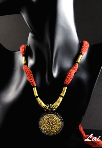 Regal round Thappa (stamped) gold plated pendant with contrasting oxidized silver frame (PBS-1332)