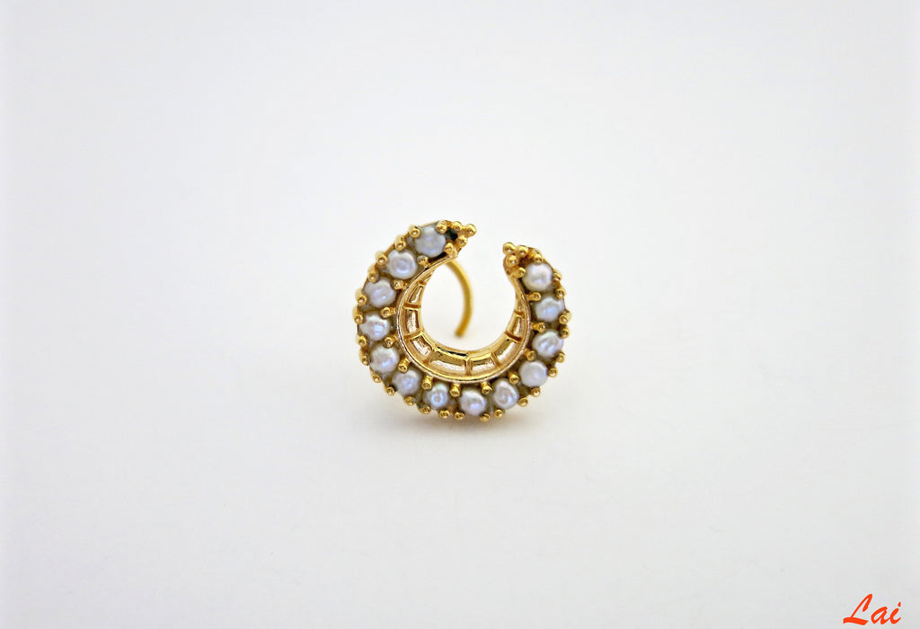 Regal gold plated pearls studded crescent nose pin (PB-022-NP) - Lai - 1
