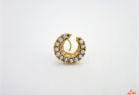 Regal gold plated pearls studded crescent nose pin (PB-022-NP)