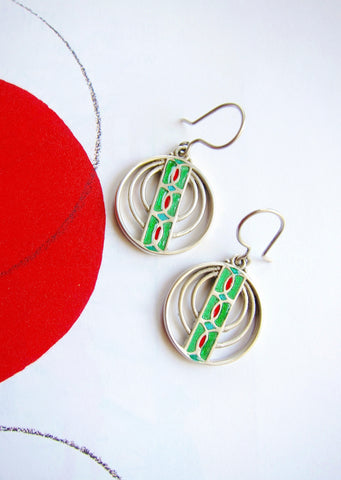 Chic and artistic, concentric circle enamel earrings (available in 2 colorways)  Earrings Sterling silver handcrafted jewellery. 925 pure silver jewellery. Earrings, nose pins, rings, necklaces, cufflinks, pendants, jhumkas, gold plated, bidri, gemstone jewellery. Handmade in India, fair trade, artisan jewellery.