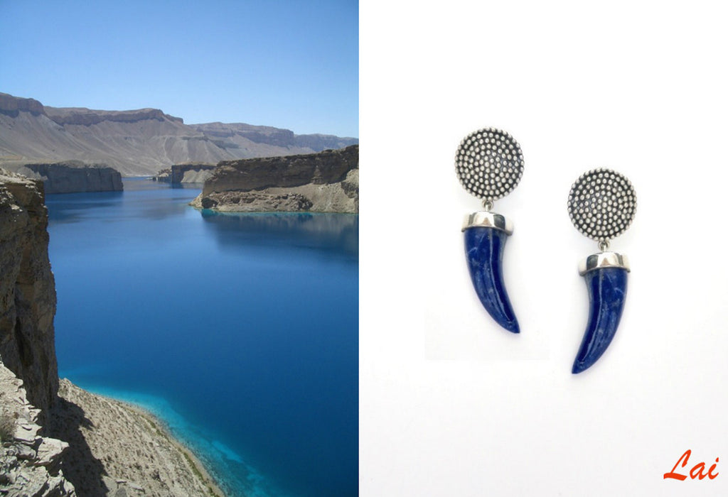 Arresting, claw-shaped, hand carved lapis earrings  Earrings Sterling silver handcrafted jewellery. 925 pure silver jewellery. Earrings, nose pins, rings, necklaces, cufflinks, pendants, jhumkas, gold plated, bidri, gemstone jewellery. Handmade in India, fair trade, artisan jewellery.