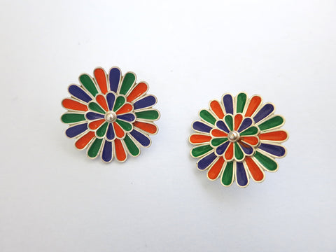 Artistic, modular earrings with removal enamel floral studs in center  Earrings Sterling silver handcrafted jewellery. 925 pure silver jewellery. Earrings, nose pins, rings, necklaces, cufflinks, pendants, jhumkas, gold plated, bidri, gemstone jewellery. Handmade in India, fair trade, artisan jewellery.
