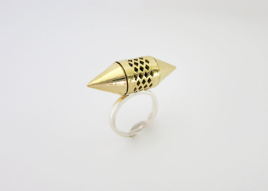 Ravishing, gold plated brass tubular amuletic ring with conical ends and a sterling silver shank (PB-MM1068-R)
