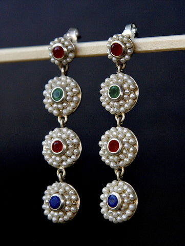 Unique pearl and gemstones sleek long earrings (PB-9190-ER)  Earrings Sterling silver handcrafted jewellery. 925 pure silver jewellery. Earrings, nose pins, rings, necklaces, cufflinks, pendants, jhumkas, gold plated, bidri, gemstone jewellery. Handmade in India, fair trade, artisan jewellery.