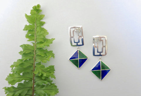 Contemporary, geometric dangle earrings in blue and green Nathdwara enamel  Earrings Sterling silver handcrafted jewellery. 925 pure silver jewellery. Earrings, nose pins, rings, necklaces, cufflinks, pendants, jhumkas, gold plated, bidri, gemstone jewellery. Handmade in India, fair trade, artisan jewellery.